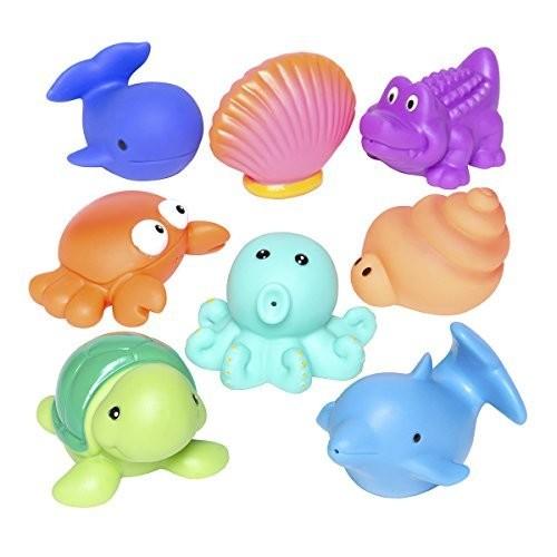 Elegant Baby Bath Time Fun Rubber Water Squirties Vinyl Zip Storage Bag, Sea Party, Set of 8 [Sea]
