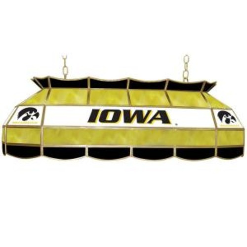 Trademark Global University of Iowa 3-Light Stained Glass Hanging Tiffany Style Lamp