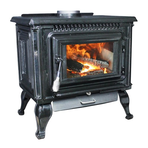 Ashley Hearth Products 2,000 Sq. Ft. EPA Certified Black Enameled Porcelain Cast Iron Wood stove with Blower