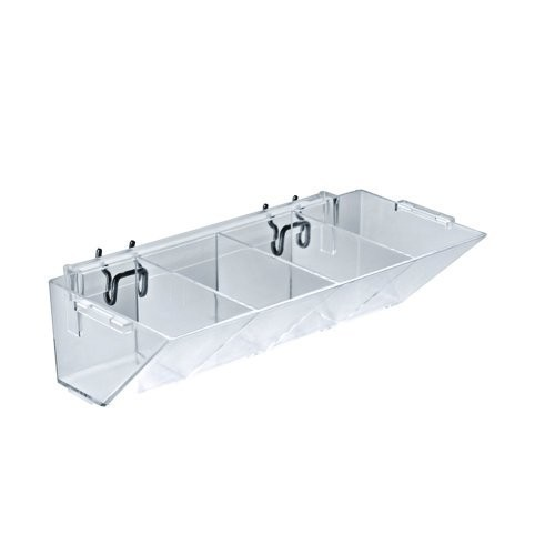Azar Displays 223011 4-Compartment Pegboard / Slatwall Tray