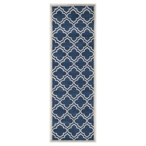 Safavieh Amherst Navy/Ivory 2 ft. x 7 ft. Indoor/Outdoor Runner Rug