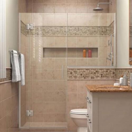 DreamLine Unidoor-X 59 in. to 59-1/2 in. x 72 in. Frameless Hinged Shower Door in Brushed Nickel with Buttress Panel