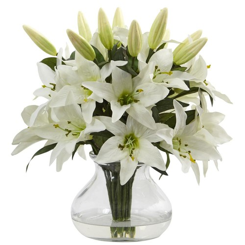 Nearly Natural Lily Arrangement with Vase