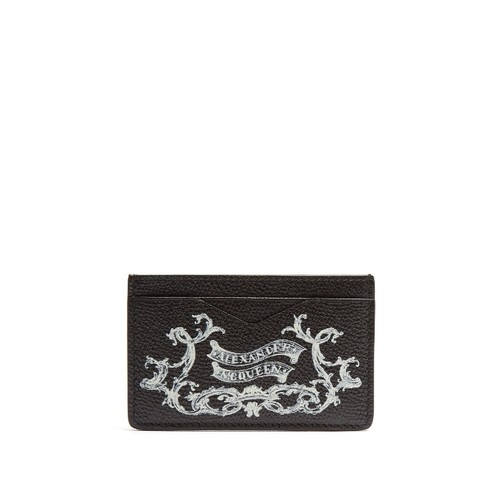 Coat of Arms-print leather cardholder