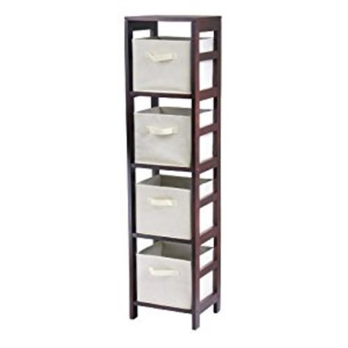 Winsome Wood Capri Wood 4 Section Storage Shelf with 4 Beige Fabric Foldable Baskets [Espresso, beige basket]