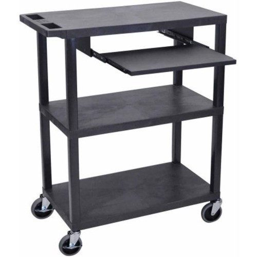 Luxor EA Series Black 3-shelf Presentation Station with Pullout Shelf