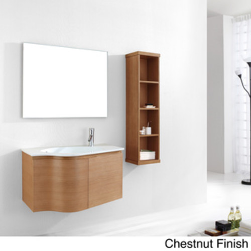 Eviva Aries 32-inch Vanity Wenge Wall Mount Bathroom Vanity Set with Integrated Porcelain White Sink