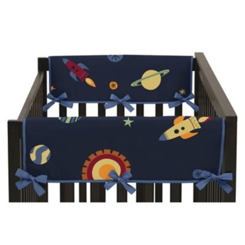 Sweet Jojo Designs Space Galaxy Reversible Side Crib Rail Covers in Navy/Green (Set of 2)