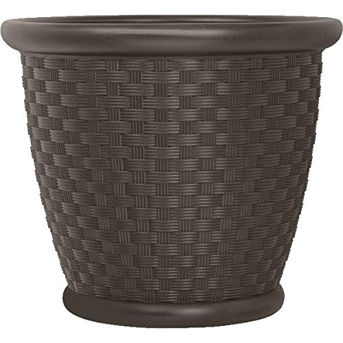 Suncast P222105B94 Resin Wicker Planter, 22