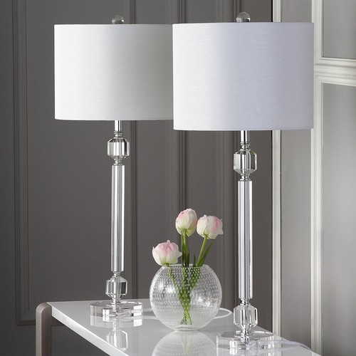 Safavieh Cosna Table Lamp with CFL Bulb, Clear with Off-White Shade, Set of 2