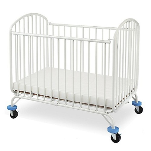 LA Baby Folding Arched Portable Metal Crib in White