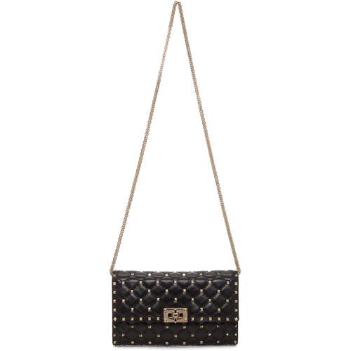 Black Valentino Garavani Rockstud Spike Matelass Clutch Bag