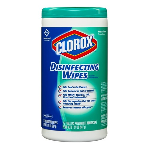 Clorox Disinfecting Wipes, Fresh Scent, 75 Wipes Per Tub, Box Of 6 Tubs
