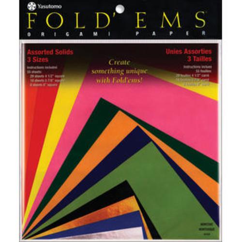 Yasutomo Fold 'Ems Origami Paper 55/Pkg-Assorted Colors