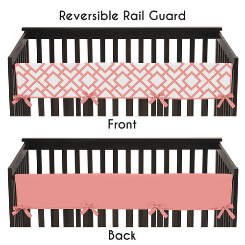 Sweet Jojo Designs White and Coral Modern Diamond Collection Long Crib Rail Guard Cover - White and Coral
