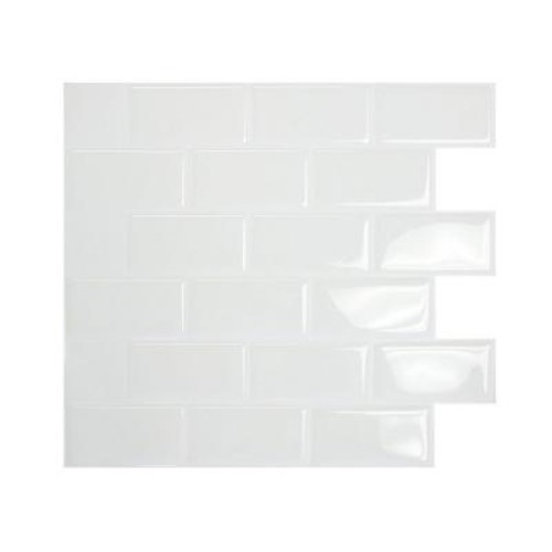 Smart Tiles Subway White 10.95 in. W x 9.70 in. H Peel and Stick Decorative Mosaic Wall Tile Backsplash (12-Pack)
