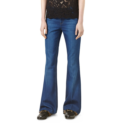 GUCCI Five-Pocket Flare Jeans, Washed Blue Denim
