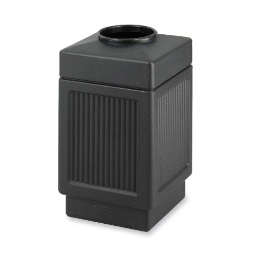 Safco Products 9475BL Canmeleon Recessed Panel Waste Receptacle, Top Open, 38 Gallon, Black [Black]