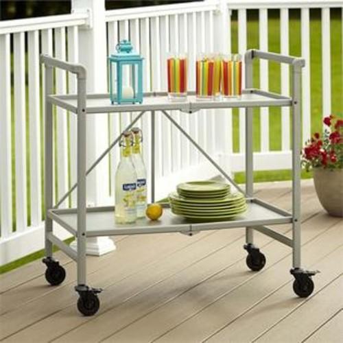 Cosco SMARTFOLD Folding Serving Bar Cart in Silver