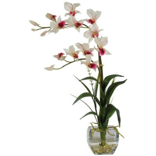 Dendrobium with Glass Vase Silk Flower Arrangement, White