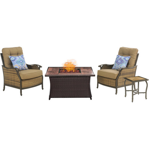 Hanover Outdoor Hudson Square Fire Pit Chat Set