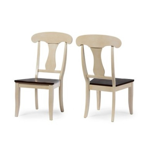 Napoleon Chic Country Cottage Antique Oak Brown Wood Dining Chairs (Set of 2) - Baxton Studio