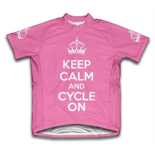Scudo X-Small Pink Keep Calm and Cycle on Microfiber Short-Sleeved Cycling Jersey