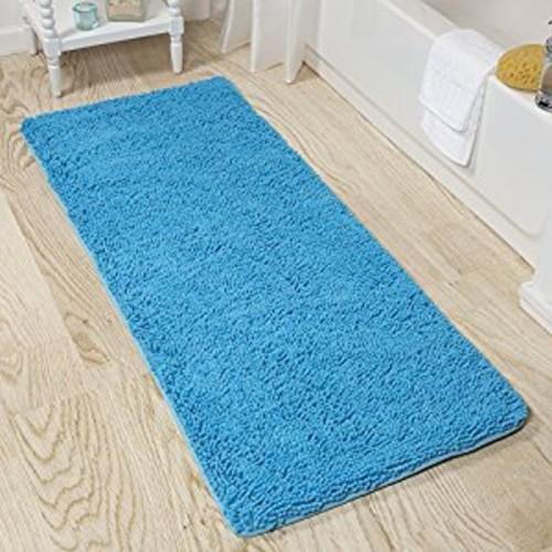 Lavish Home Memory Foam Shag Bath Mat 2-Feet by 5-Feet - Blue [Blue]
