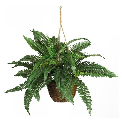 Nearly Natural Boston Fern Hanging Basket Silk Plant