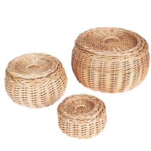 Household Essentials Vanity Round Willow Storage Basket, 3 Piece Set, Natural (ML-2228)