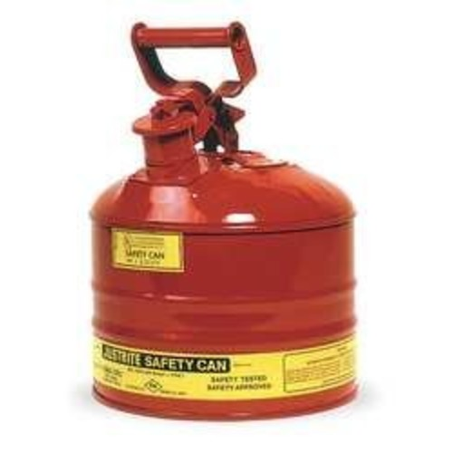 Justrite 7125100 Type I Galvanized Steel Flammables Safety Can, 2.5 Gallon Capacity, Red