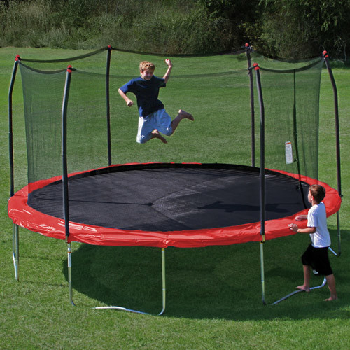 Skywalker Trampolines 15-Feet Round Trampoline and Enclosure with Spring Pad [Red]