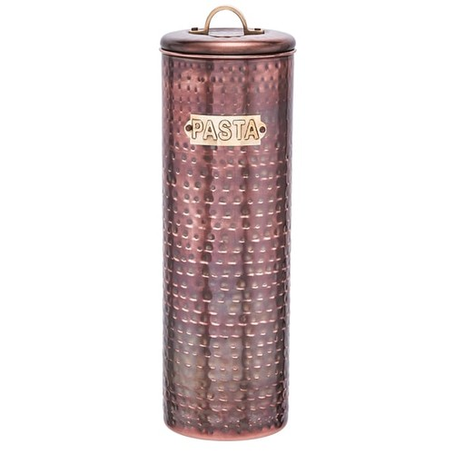 Dutch Hammered Copper 12-inch Antique Pasta Canister