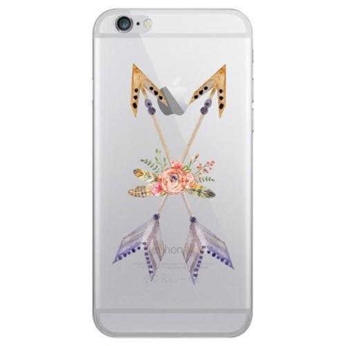 iPhone 6/6S/7/8 Case Hybrid Flowers & Arrows Clear Rust - OTM Essentials