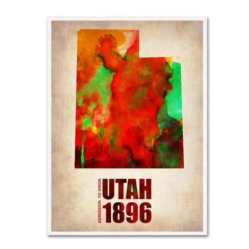 Trademark Fine Art 'Utah Watercolor Map' 24