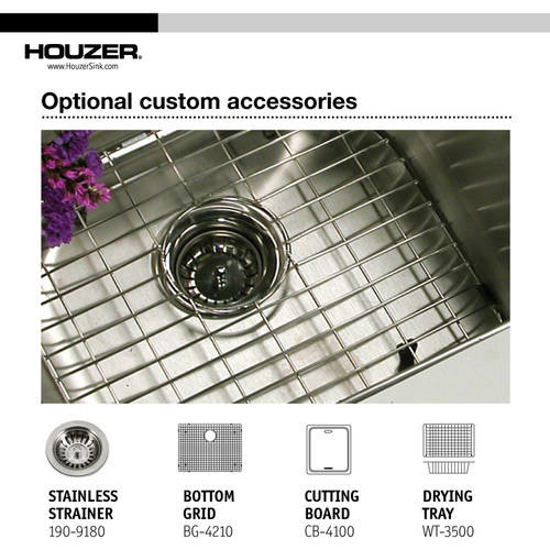 HOUZER Savoir Series Undermount Stainless Steel 23 in. Single Bowl Kitchen Sink, Satin Brushed