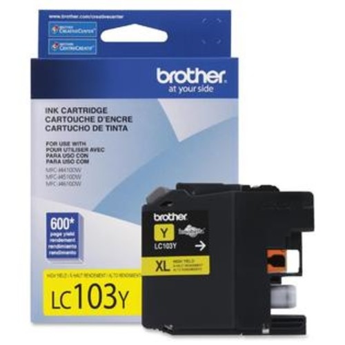 Brother Innobella LC103Y Ink Cartridge - Inkjet - High Yield - 600 Page - 1 Each - TD