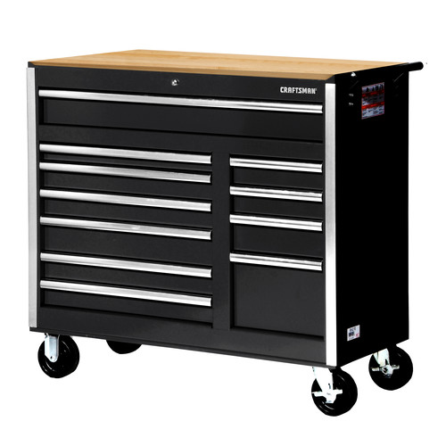 Craftsman 42 in. 11-Drawer Ball Bearing Slides Cabinet With Hard Wood Top, Black
