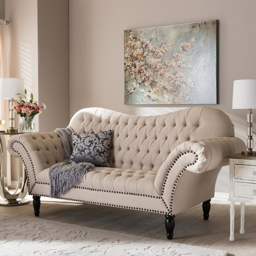 Baxton Studio Bostwick Traditional Beige Fabric Upholstered Loveseat
