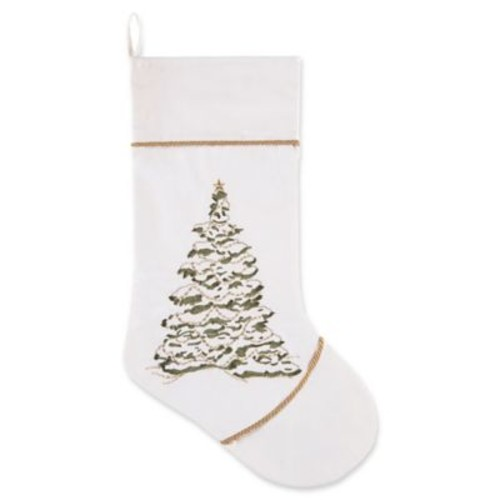 C&F Home Golden Greenery Tree Stocking in White