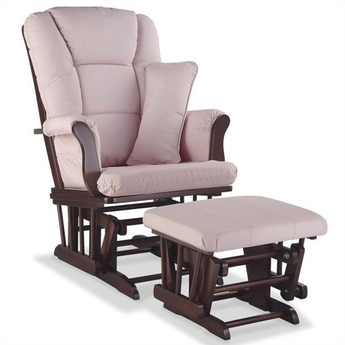 Storkcraft Stork Craft Tuscany Custom Glider and Ottoman in Cherry and Pink Blush