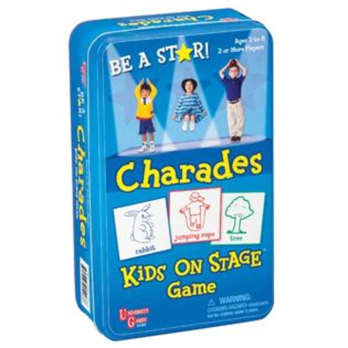 UNIVERSITY GAMES Kids on Stage Charades Game in a Tin