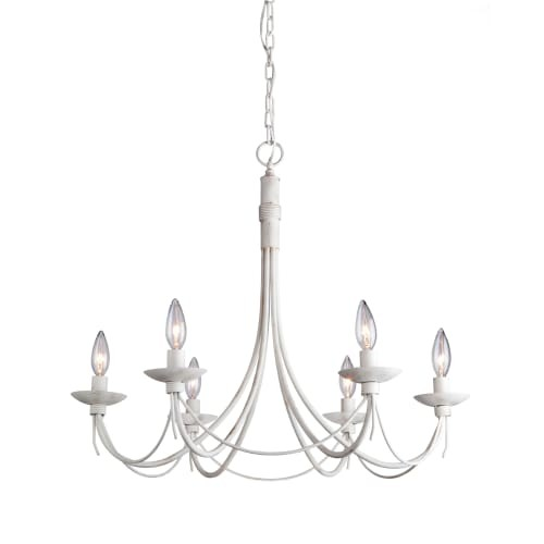 Artcraft Lighting AC1486AW Single-Tier Chandelier with 6 Lights - 25 Inches Wide