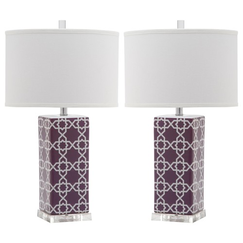 Set of Two Quatrefoil Table Lamps in Light Purple design by Safavieh