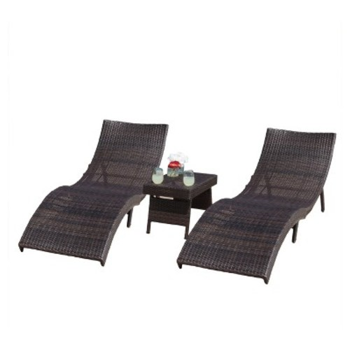 Christopher Knight Home Acapulco 3-piece Wicker Patio Chaise Lounge Set