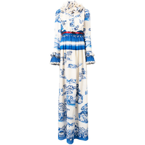 GUCCI Porcelain Garden Print Dress