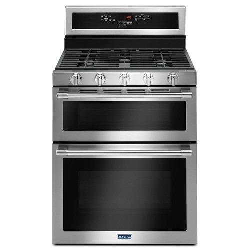Maytag 30 in. 6.0 cu. ft. Double Oven Gas Range with True Convection Oven in Fingerprint Resistant Stainless Steel