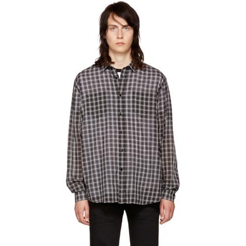 SAINT LAURENT Black & White Check Shirt