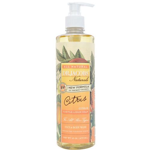 Dr. Jacobs Naturals Liquid Castile Soap Face & Body Wash Citrus -- 16 oz