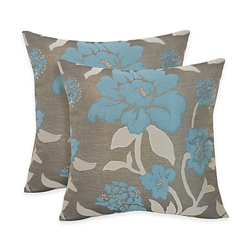 Arlee Home Fashions Rosemary Silky Jacquard Floral Square Throw Pillow in Slate (Set of 2)